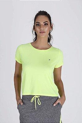 T-Shirt Fitness Feminina Cropped Amarelo Neon Epulari