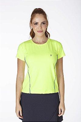 T-Shirt Amarelo Neon Com Vivos Azul Royal UV+50 Poliamida Epulari