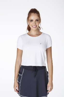 T-Shirt Cropped Branco Fitness UV+50 Epulari