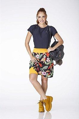 Saia Shorts Estampada Com Amarelo Mostarda UV+50 Epulari