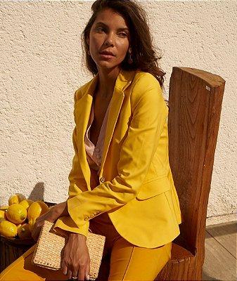Blazer Alfaiataria Forrado Cor Amarelo