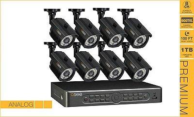 Kit CFTV -  Gravador de 08 Canais, Capacidade de 1TB HDD, Com 8 Câmeras