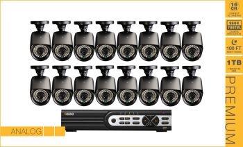 Kit CFTV -  Gravador de 16 Canais, Capacidade de 1TB HDD, Com 16 Câmeras