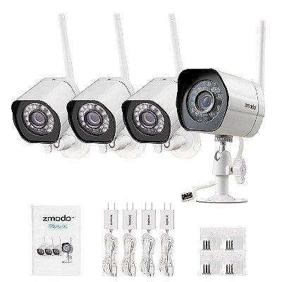 Câmeras de segurança sem fio Zmodo Smart-4 Pack- HD Indoor / Outdoor