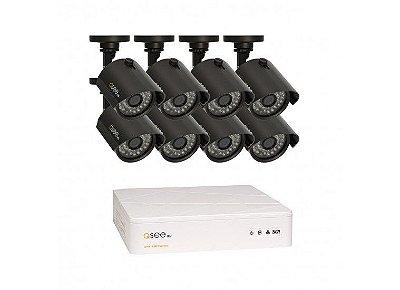 Kit Completo:  08 Canais com 8 Câmeras High Definition (HD), Capacidade de 1TB, Cabos e Fontes