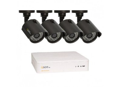 Kit Completo:  04 Canais com 4 Câmeras High Definition (HD), Capacidade de 1TB, Cabos e Fontes