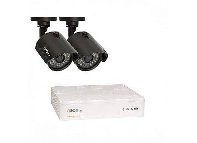 Kit Completo:  04 Canais com 2 Câmeras High Definition (HD), Capacidade de 1TB, Cabos e Fontes