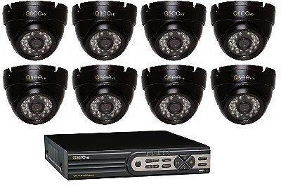 Kit Completo:  16 Canais com 8 Câmeras High Definition (HD), Capacidade de 2TB, Cabos e Fontes