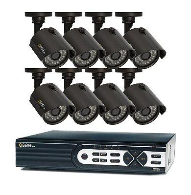 Combo Q-See:  16 Canais com 8 Câmeras High Definition (HD), Capacidade de 2TB
