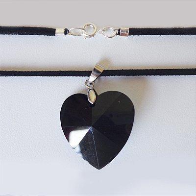 Coração de Swarovski Negro