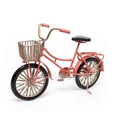Miniatura Bicicleta Cor de Rosa com Cestinha