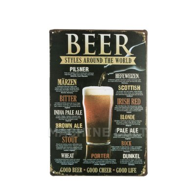 Placa Decorativa Estilos de Cerveja