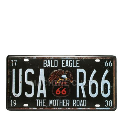 Placa USA Route 66 - Alto Relevo