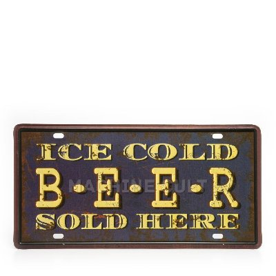 Placa Decorativa em Metal - Cold Beer - alto relevo