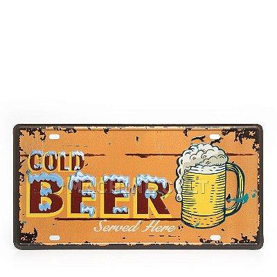 Placa Decorativa em Metal - Cerveja - alto relevo