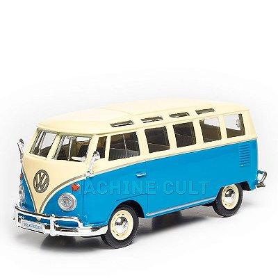 Miniatura Volkswagen Van Samba Azul - Maisto - 1:25