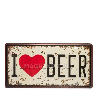Placa Decorativa I love Beer - alto relevo