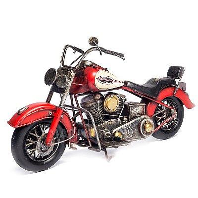 Miniatura Moto Chopper - Branca e Vermelha