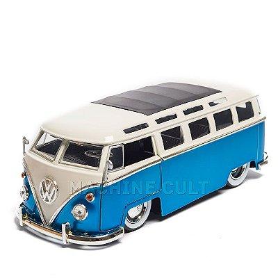 Miniatura Perua Kombi Volkswagen 1962 - Azul - Jada 1:24