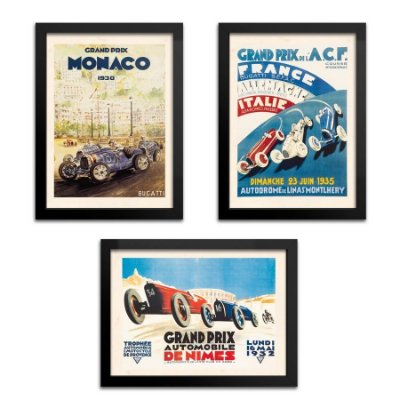 Kit 3 Quadros Carro Grand Prix - 33x43cm