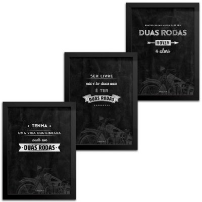 Kit Quadros Decorativos Frase Moto - 18x24cm