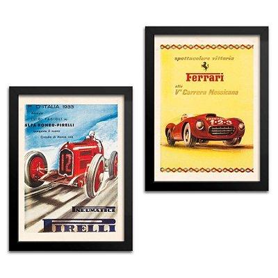 Kit 2 Quadros Carro - Pirelli e Ferrari - 33x43cm