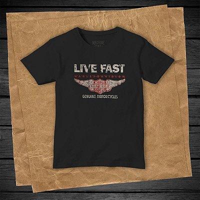 Camiseta Masculina Preta - Harley-Davidson Live Fast