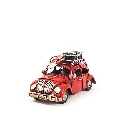 Carro de Lata - Miniatura Fusca VW - Vermelho