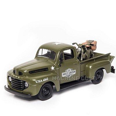 Miniatura Ford F-1 Pick Up 1948 + Harley-Davidson WLA Flathead 1942 - Maisto - 1:24
