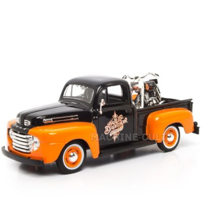 Miniatura Ford F-1 Pick Up + Harley-Davidson FLH DUO Glide 1958 - Maisto - 1:24