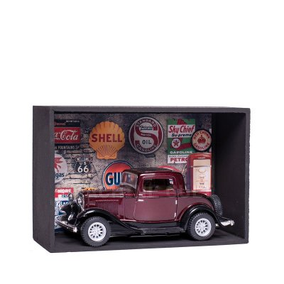 Miniatura Ford 3 Window Coupe 1932 Bordô - 1:34