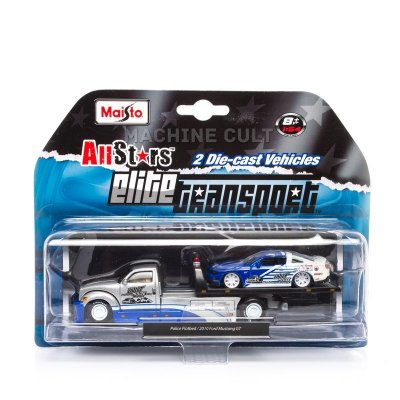 Elite Transport - Police Flatbed + 2010 Ford Mustang GT - Maisto 1:64