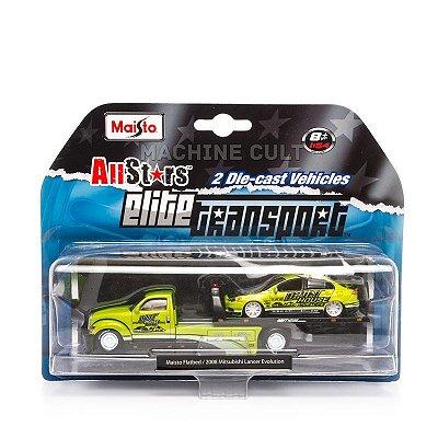 Elite Transport - Maisto Flatbed + 2008 Mitsubishi Lancer Evolution - Maisto 1:64