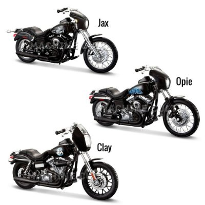 Kit Miniaturas Moto Sons of Anarchy - Jax - Opie - Clay