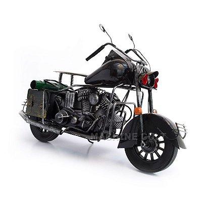 Miniatura Moto Custom Preta com Alfroges