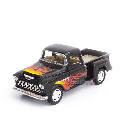 Miniatura Chevy Stepside Pickup Customizado 1955 Preto - 1:32