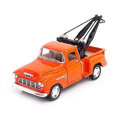 Miniatura Guincho Chevy Stepside Pickup 1955 Laranja - 1:32