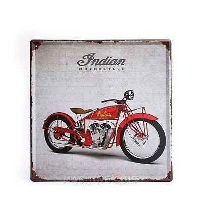 Placa Decorativa em Metal - Moto Indian