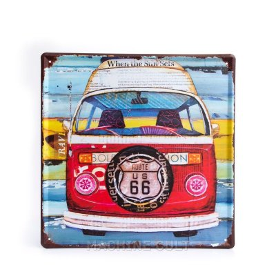 Placa Decorativa em Metal - Perua Kombi