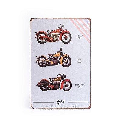 Placa em Metal Moto Indian Scout