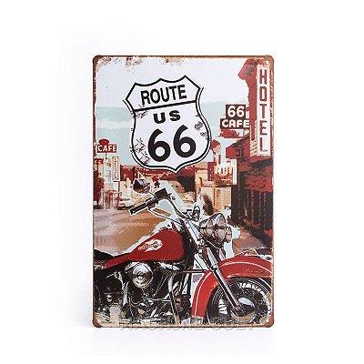 Placa em Metal Harley-Davidson Rota 66