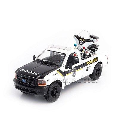 Miniatura 1999 Ford F-350 Super Duty Pickup + 2004 FLHTPI Electra Glide Police 1:24