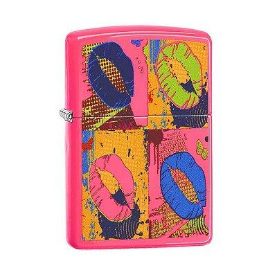 Isqueiro Zippo 29086 Classic Lábios Pop Neon Rosa