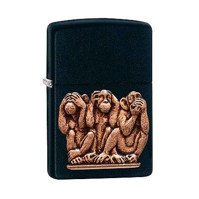 Isqueiro Zippo 29409 Classic Three Monkeys Preto