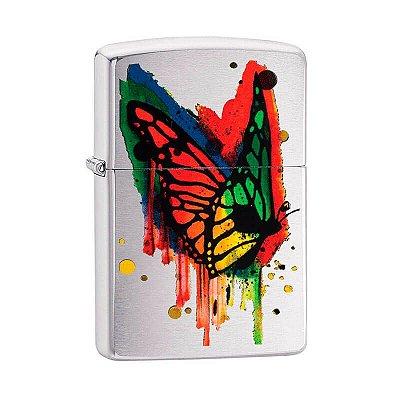 Isqueiro Zippo 29392 Classic Escovado Colored Butterfly
