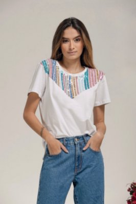 T-Shirt Listras Paetês - LOTTUS