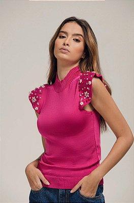 Blusa Tricot Bordada Pink - LOTTUS