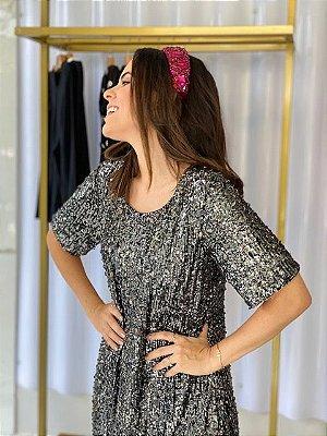 Vestido Em A Paetê Preto P - Denise Valadares