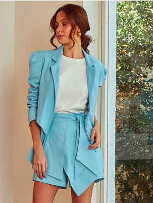 Short Saia Camadas Juliana Azul P - ZEN