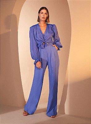 Blusa Drapeada Ombro Azul - TUFI DUEK